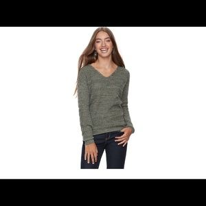 Juniors SO lace up back sweater OLIVE XXS NWT